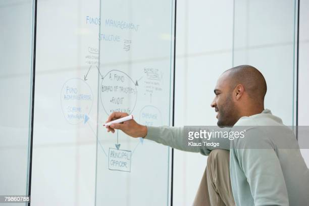african businessman writing on clear dry erase board - diagramma di flusso foto e immagini stock