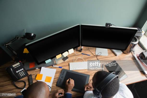 African businessmen working at the office