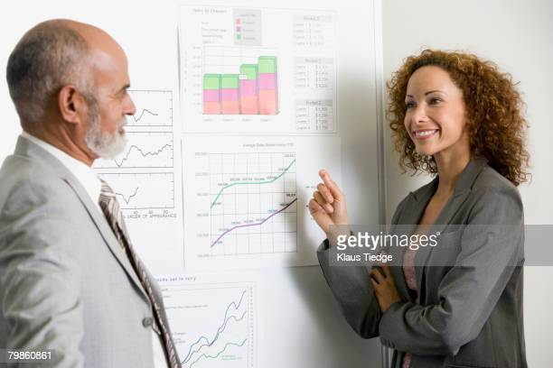 African businesspeople next to graphs