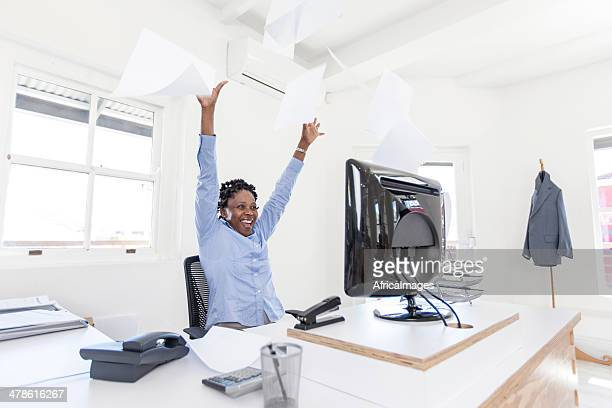 African businesswoman celebrating the new job she just found