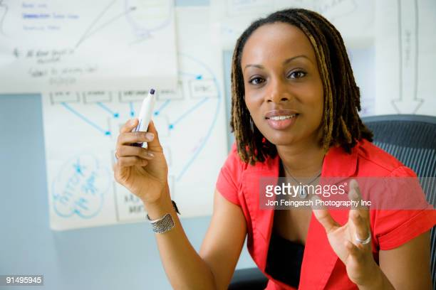 African businesswoman gesturing