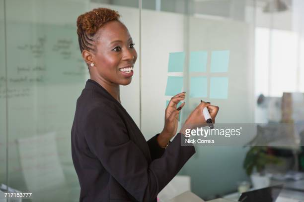 African businesswoman working at the office