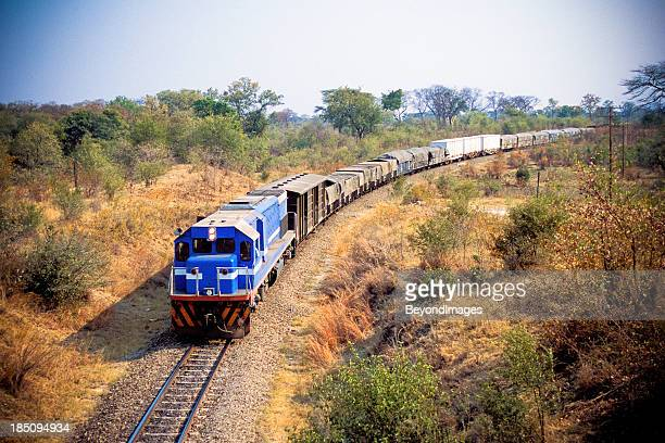 african cargo train between zimbabwe and zambia - rail freight stock pictures, royalty-free photos & images