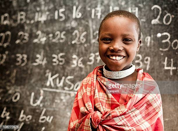 African Child Learning Numbers at School