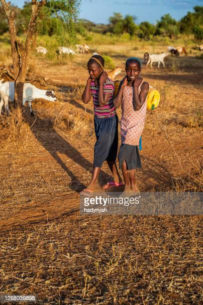 african children carrying water from the well, kenya, east africa - east africa stock pictures, royalty-free photos & images