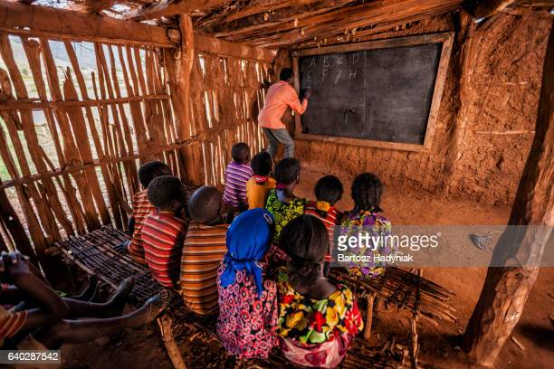 African children during english class, southern Ethiopia, East Africa