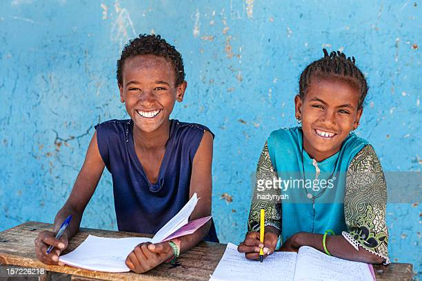 african children learning english language - ethiopia stock photos and pictures