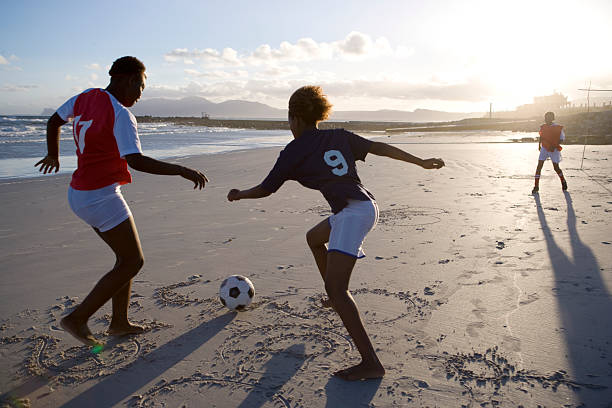 African children playing football
