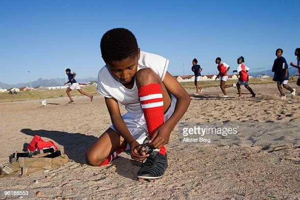 African children playing football