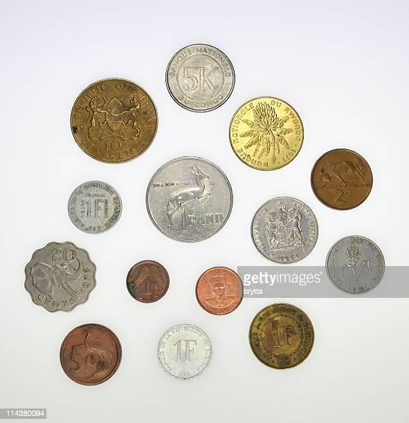 アフリカの硬貨南アフリカ、スワジランド,kenya ,rwanda ,ブルンジ、コンゴ - 南アフリカ通貨 ストックフォトと画像