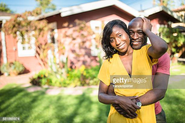 african couple enjoy in the house courtyard