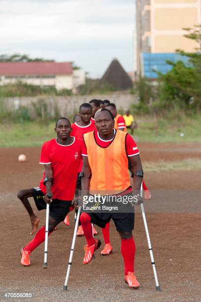 African cup of amputee football in 2013 in Nairobi Liberia Ghana Angola Nigeria Sierra Leone and Kenya participated Angola is training © Laurent...