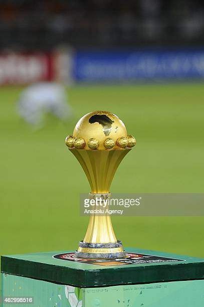 African Cup of Nations trophy is seen ahead of the final football match between Ivory Coast and Ghana at the Bata Stadium in Bata on February 8 2015