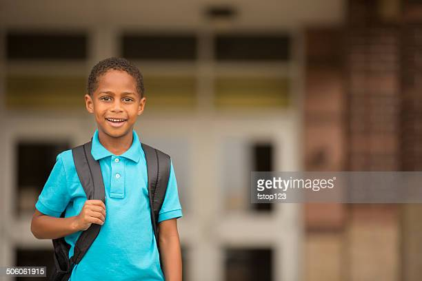 african descent child, boy ready for first school day. - schoolboy stock pictures, royalty-free photos & images