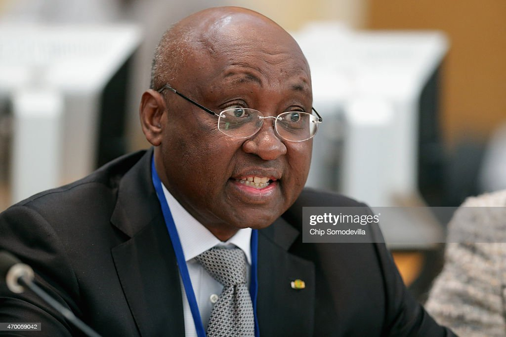 African Development Bank Group (AfDB) President Donald Kaberuka delivers remarks during a meeting about the fight against the Ebola outbreak in West Africa during the World Bank-International Monetary Fund Spring Meetings April 17, 2015 in Washington, DC. The World Bank announced Friday that it would provide an additional US$650 million over the next year to help Guinea, Liberia and Sierra Leone to recover from the social, economic and health impact of the Ebola crisis.