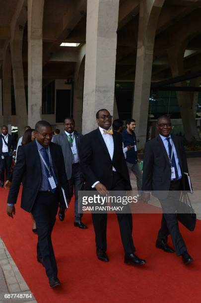 African Development Bank President Akinwumi Adesina arrives at the venue for the African Development Bank General Meeting 2017 Gandhinagar some 30...