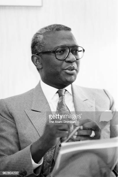 African Development Bank President Babacar Ndiaye speaks during the Asahi Shimbun interview on January 23 1989 in Tokyo Japan