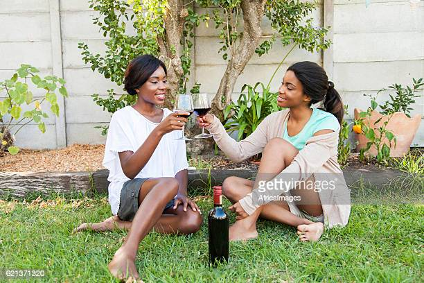 African female doing a toast.