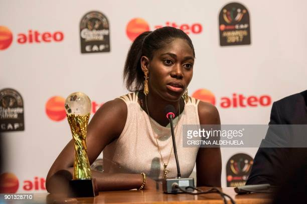 African Female Footballer of the Year Nigeria's Asisat Oshoala speaks during the press conference after the CAF awards at the Accra International...