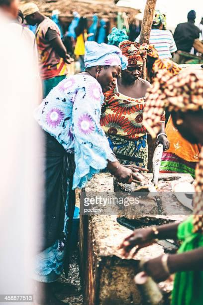 African fish market scene.