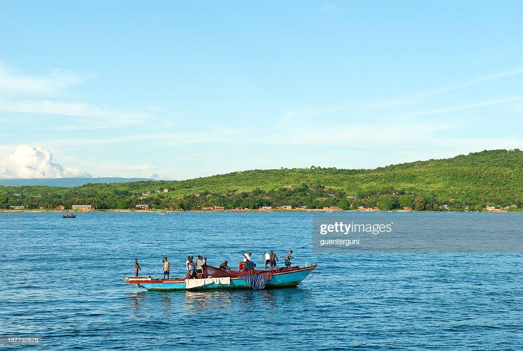 African fisherman at Lake Tanganyika, Tanzania : Stock Photo
