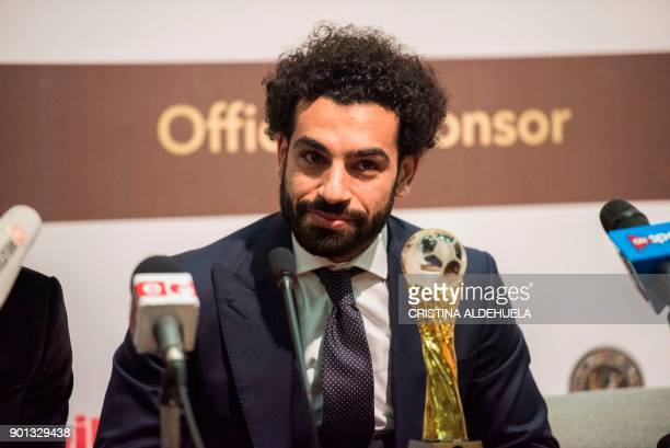 African Footballer of the Year Egypt and Liverpool striker Mohammed Salah speaks during a press conference after the CAF awards at the Accra...