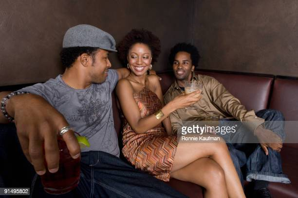 African friends hanging out in nightclub