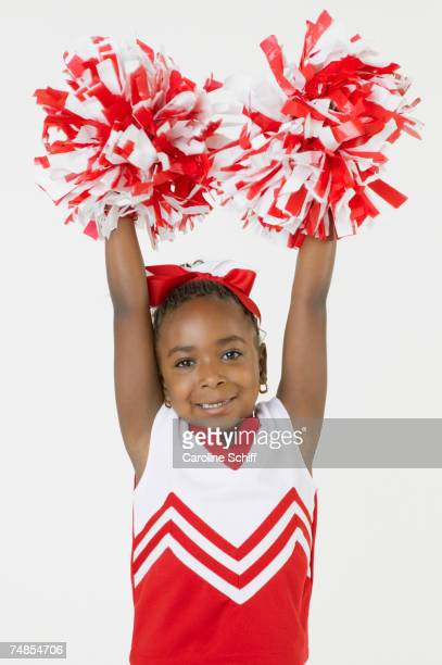 african girl dressed as cheerleader - black cheerleaders stock photos and pictures