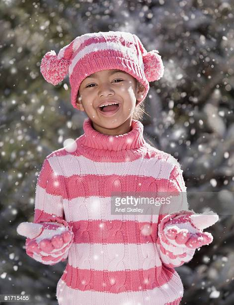 African girl in snow