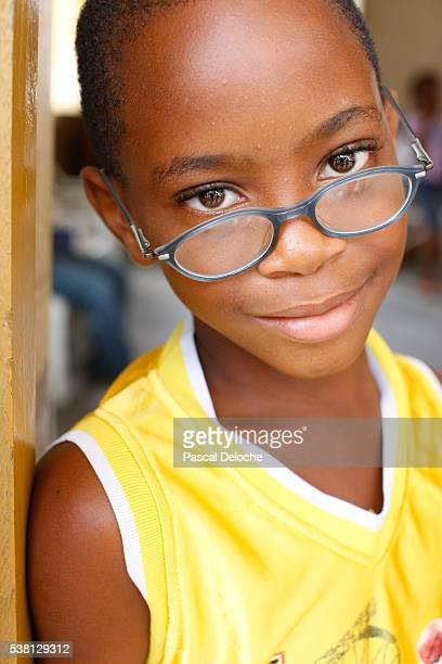 African girl wearing glasses