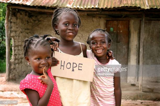 African Girls with Hope Sign