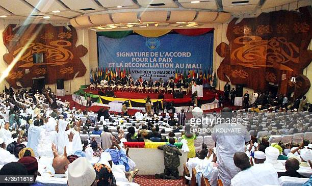 African heads of state and officials attend a ceremony for the signing of a peace accord between Mali's government and several armed groups on May 15...