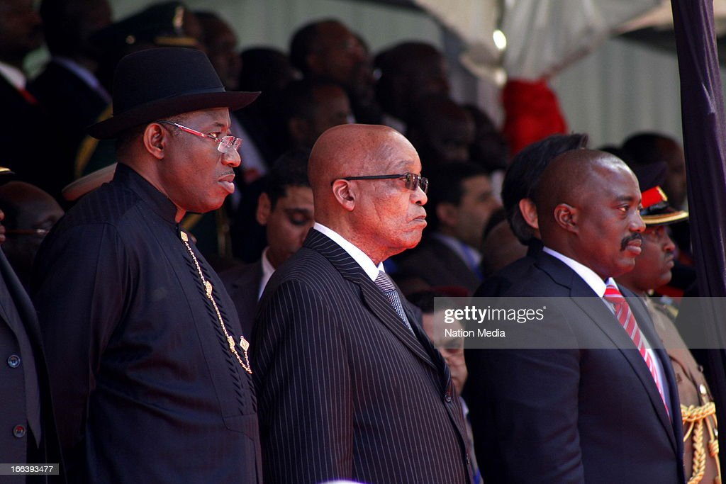 African heads of state, Goodluck Jonathan of Nigeria, Jacob Zuma of South Africa and Joseph Kabila of the DRC at the Inauguration ceremony of President Uhuru Kenyatta on April 9, 2013 in Nairobi, Kenya. Kenyatta received masses of support from the citizens of Kenya despite being under investigation for crimes against humanity.