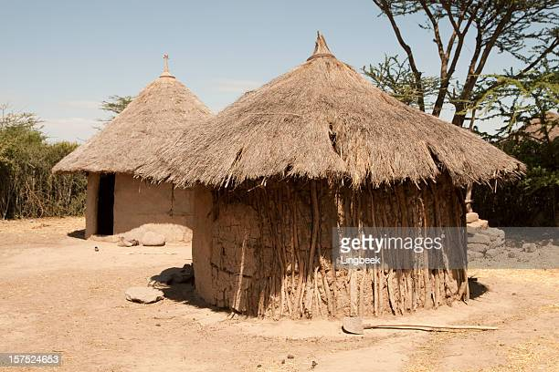 african hut in ethiopia - loam stock photos and pictures