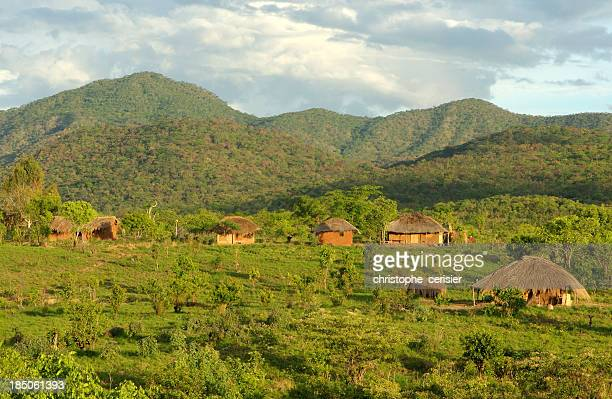 african huts in hills - mozambique stock pictures, royalty-free photos & images