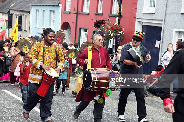 African Indian band in the Hillsborough Oyster Festival Parade in County Down