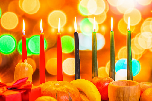 african Kwanzaa festive concept with decorate seven candles red, 628038518