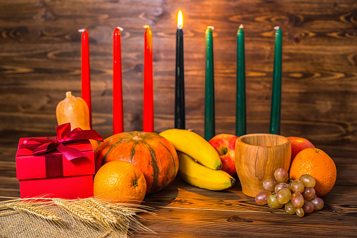 african Kwanzaa festive concept with decorative candles red 628038584