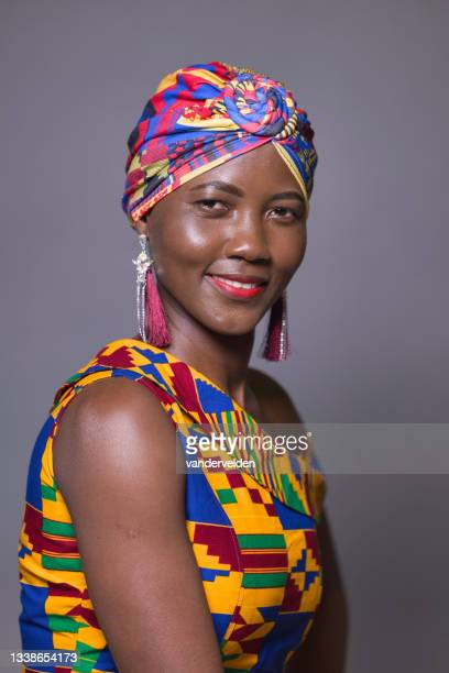 african lady wearing traditional dress - sleeveless dress stock pictures, royalty-free photos & images
