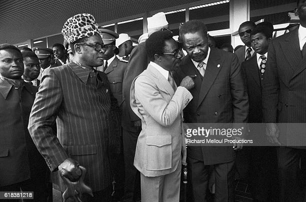 African leaders dictator Mobutu Sese Seko of Zaire Gabonese Republic President Omar Bongo and Central African Republic President JeanBedel Bokassa...