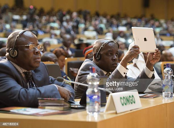 African leaders listen to US President as he delivers a speech at the African Union Headquarters in Addis Ababa on July 28 2015 US President Barack...