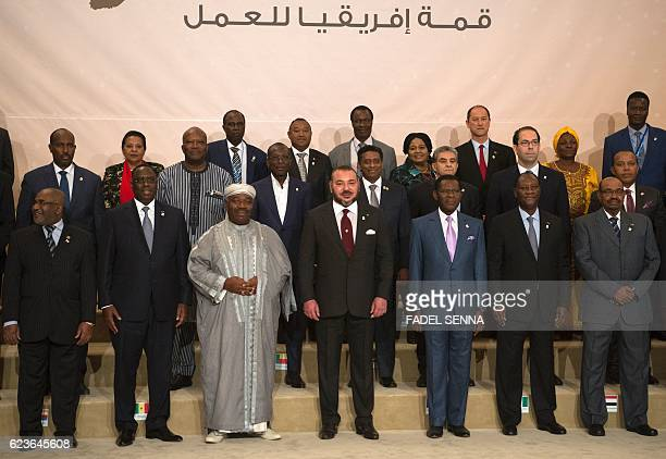 African leaders pose for a family picture during the Africa Action Summit on the sidelines of the COP22 Climate Change Conference on November 16 in...