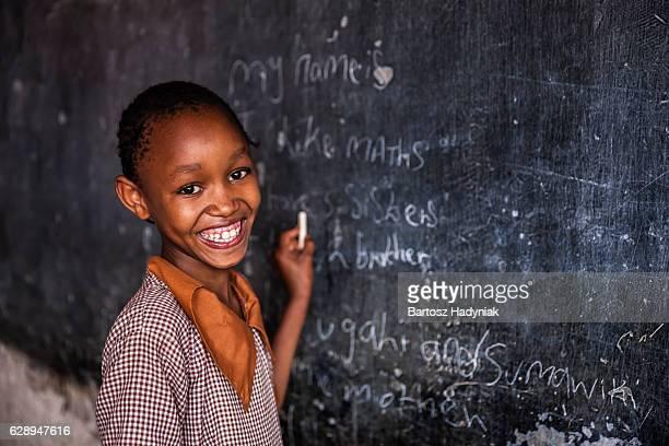 """Africaine fillette apprentissage langue anglaise, """"orphelinat au Kenya"""