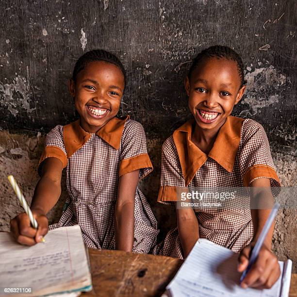 African little girls are learning English language, orphanage in Kenya