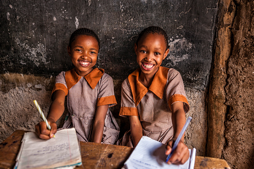 African little girls are learning English language, orphanage in Kenya 636215476
