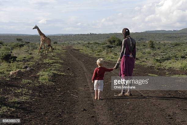 african maasai warrior and caucasian boy holding hands on a nature walk in africa. - nairobi stock pictures, royalty-free photos & images