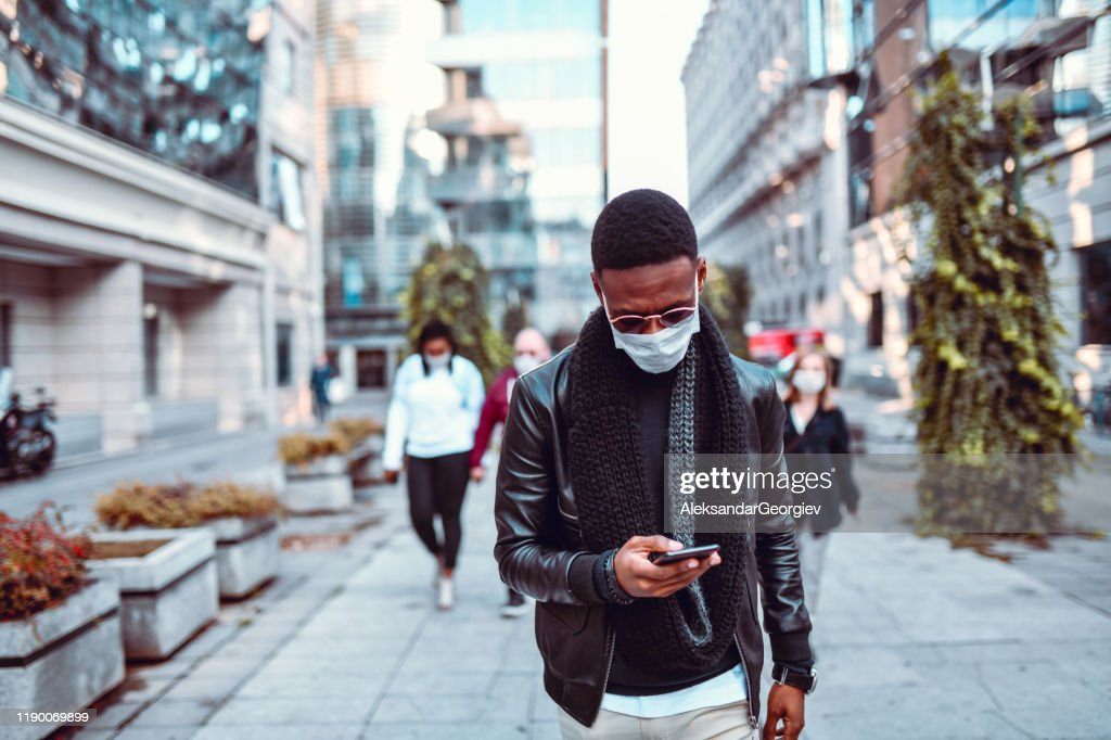 African Male Demonstrating Against Air Pollution With Mask : Stock Photo