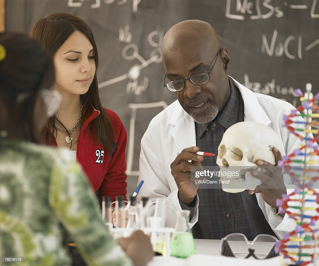 African male science teacher showing students a human skull, Toronto, Canada : Stock Photo