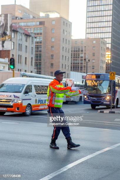 African male traffic cop in Johannesburg, South Africa
