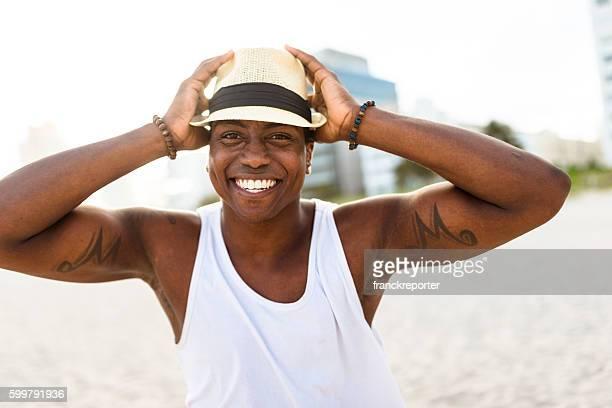 African man dancing on Miami beach